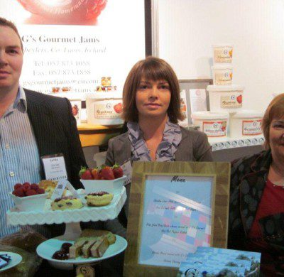 Clive, Sandra & Helen showing off some of G's new range of Jams