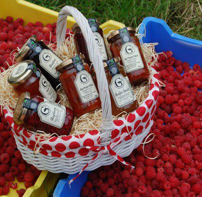 A basket full of our delicious range of Jams